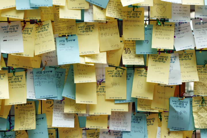 An insane amount of post-it notes